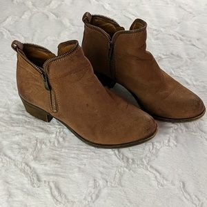 Vince Camuto Leather Brown Booties Size 7.5